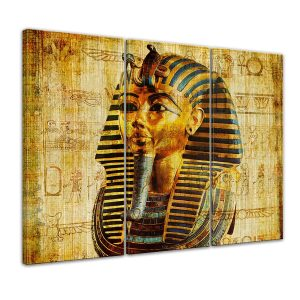 cuadro en lienzo de faraón 3 piezas iguales