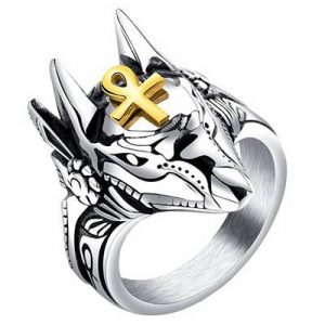 anillo anubis ankh acero inoxidable