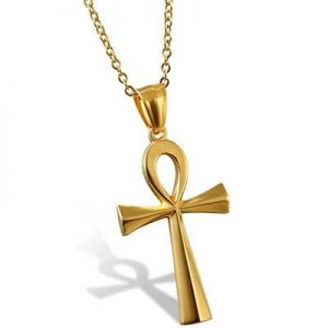 colgante ankh llave de vida acero inoxidable dorado