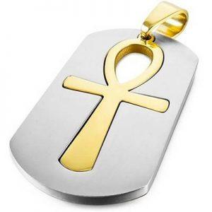 collar llave vida dorado plateado
