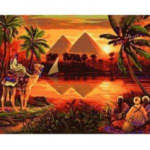 cuadro oleo paisaje egipcio