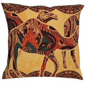 funda cojin lino camello
