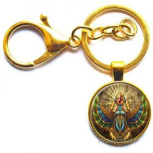 llavero escarabajo egipcio dorado