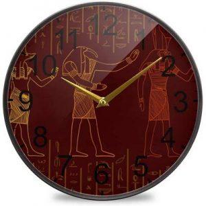 reloj pared oscuro mural egipcio